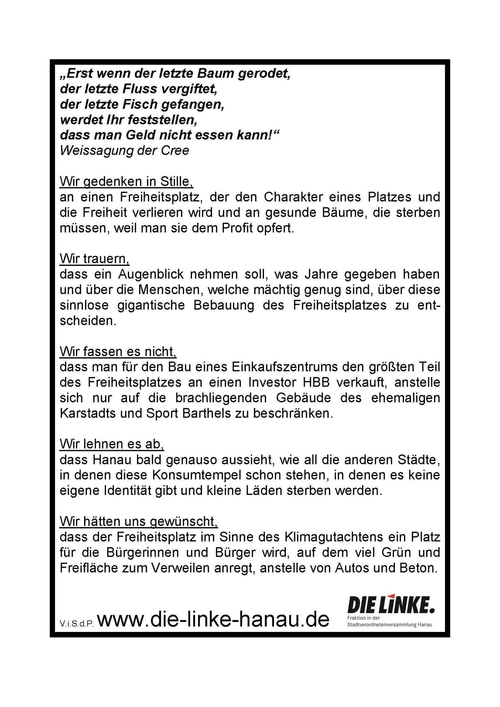 Innenstadtumbau / Wettbewerblicher Dialog: DIE LINKE. Ortsverband Hanau